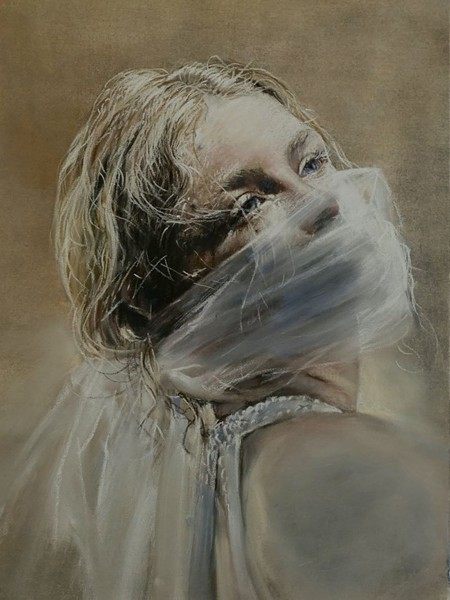 """""""Breathless"""" by June Stratton, pastel on sanded pastel paper, is worth 8 taco boxes."""