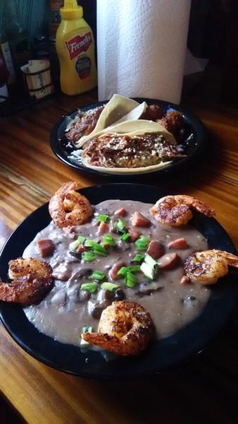 Pork Carnitas Tacos w/ Jalapeno-Cheese hushpuppies + Shrimp n' Grits