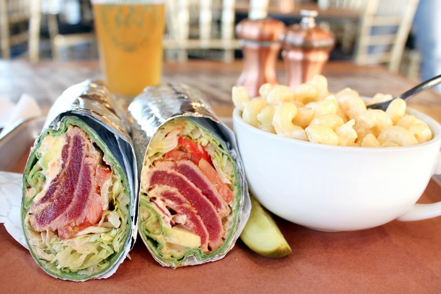 Ahi Tuna Sashimi Wrap with avocado and firecracker sauce, which was all swaddled tightly in a garlic herb wrap.