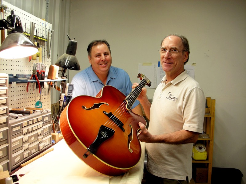 Howard Paul, left, and Robert Benedetto, right, show off a six-stringed masterpiece.