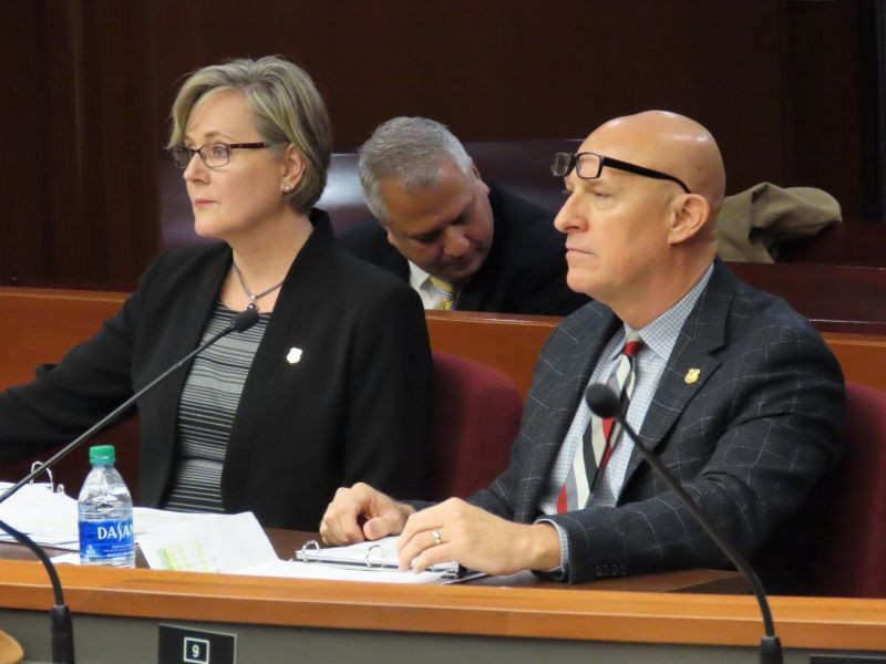 GBI Director Vic Reynolds and Connie Buck, GBI Fiscal Officer & Treasurer, testify before the Public Safety Appropriations Subcommittee