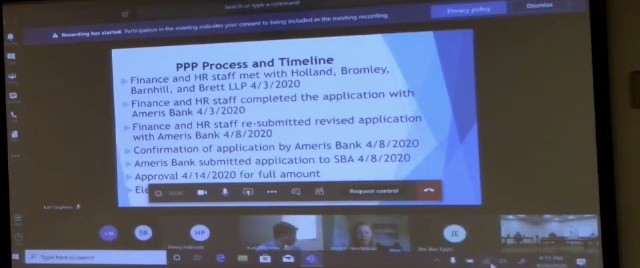Screenshot from the TLA meeting where the funding application was announced