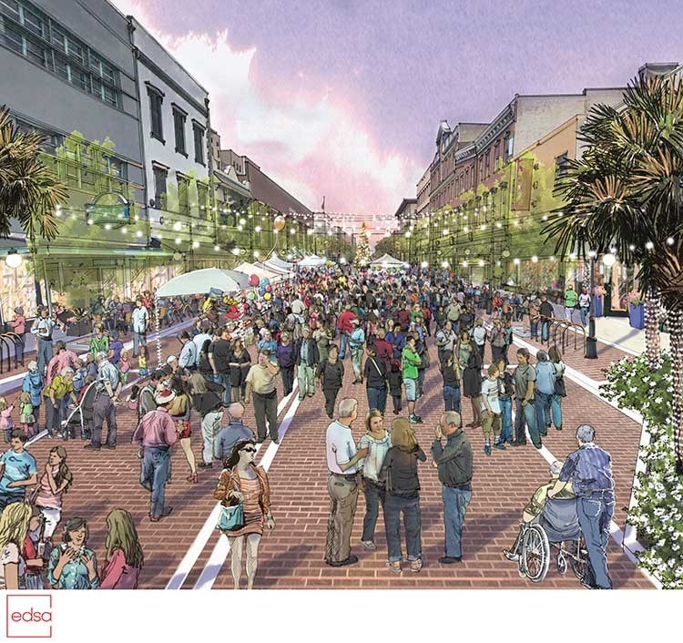 A rendering of future plans for Broughton St. shows the festival zone going in between Whitaker and Drayton streets.
