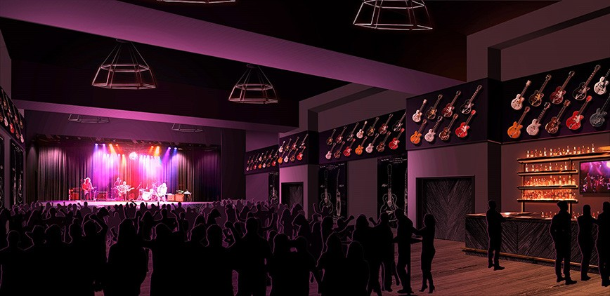 A rendering of District Live of Plant Riverside District shows fans enjoying live entertainment at the soon-to-open venue..