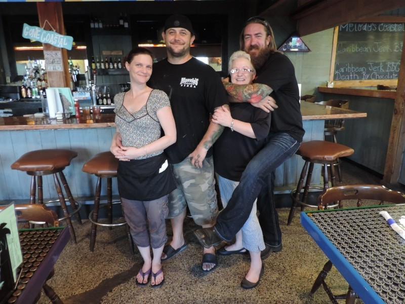 Kelli with hubby Chef/Owner Ron Lash, with his inspiration, mom Melody & best bud, Steve Matteson (bartender).