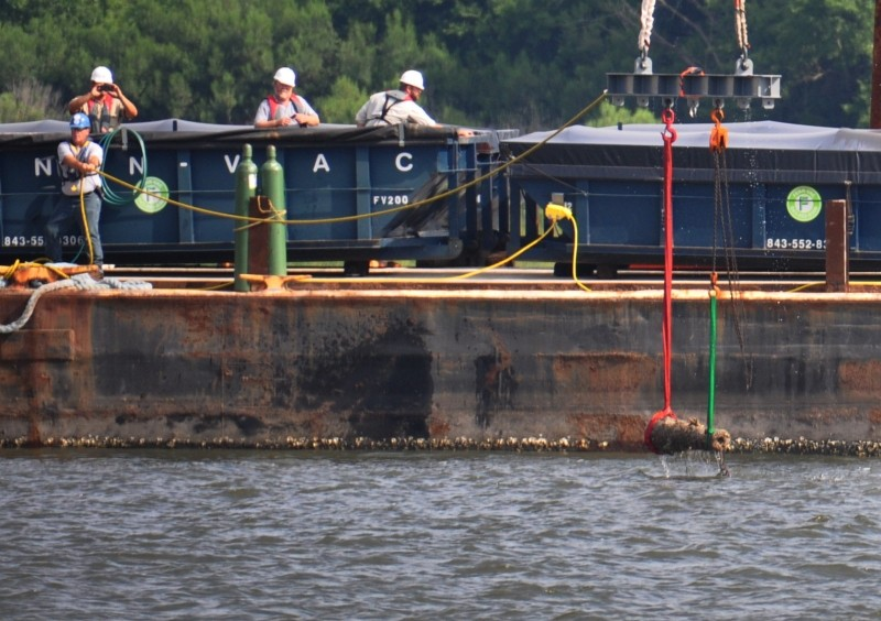 The team raises one of the Georgia's cannon last week. - PHOTOS COURTESY U.S. ARMY CORPS OF ENGINEERS