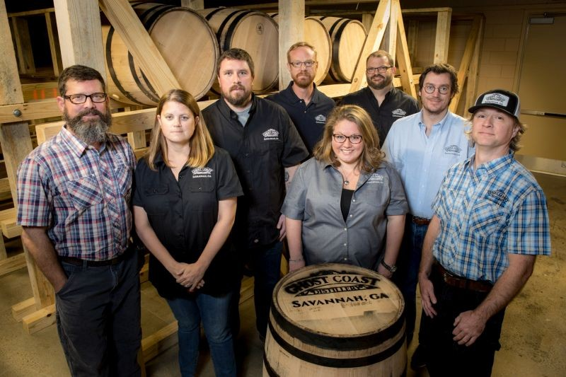 Ghost Coast founders Sywassink (far left), Ingersoll (far right) and staff have all adopted Savannah as their home, bringing us the first distillery in Savannah since Prohibition was lifted.