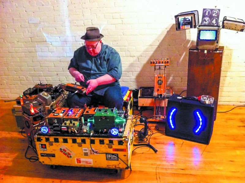 Tim Kaiser's live setup features many of his handmade creations.
