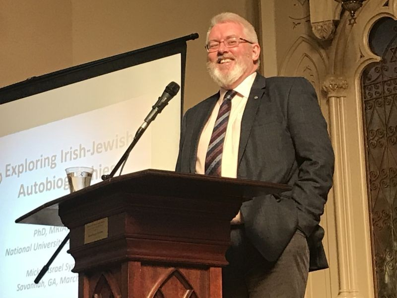 Pol O Dochartaigh, Deputy President of the National University of Ireland in Galway, speaks at Congregation Mickve Israel, as part of an exhibit on Irish-Jewish connections. (photo Orlando Montoya)