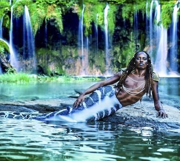Blixunami, the Geechee Merman, swims down from Charleston.