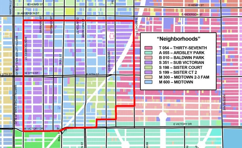 """Neighborhood"" designations in and around the Thomas Square Streetcar Historic District (in red). - MARCEL WILLIAMS"
