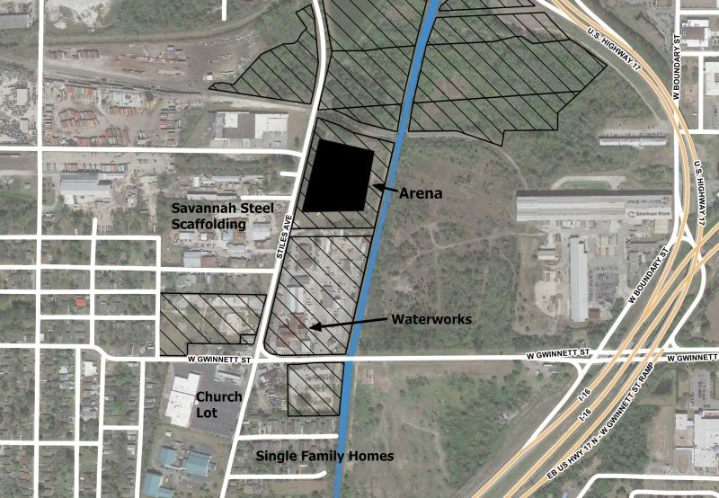 Context map of arena site showing city owned-property in black hatching. Illustration by the author with Bing basemap