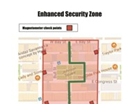 Large 'Enhanced Security Zone' set for Pence visit; includes multiple checkpoints for entry