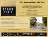"Event flier for ""Border South"" screening event - Uploaded by Kara"