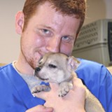 Veterinary Assistant Matt Fraleigh with Twinky
