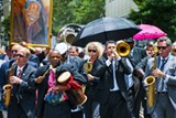 """GEOFF L. JOHNSON - """"When the Saints Go Marching In"""": The second line heads to Ellis Square folowing Ben Tucker's funeral service. Monday, June 10."""