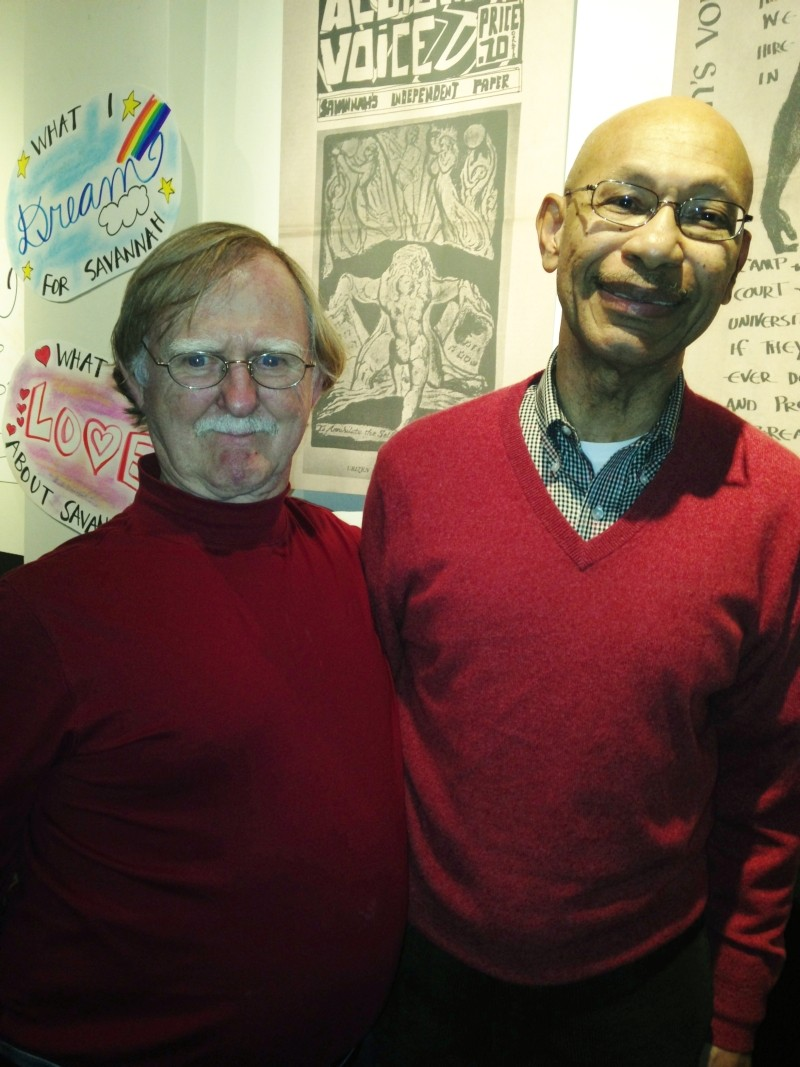 Will Strong (l.) and his Armstrong college buddy Otis Johnson reunited to celebrate Albion's Voice, the underground newspaper Strong started in 1970.