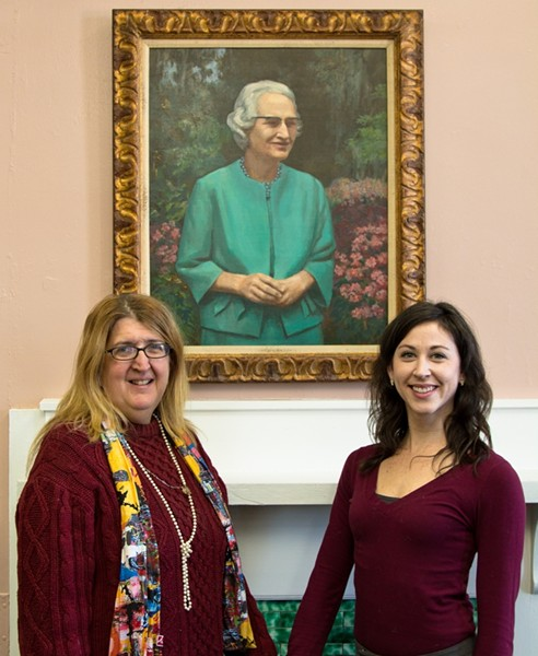 Women's History Committee of Savannah founders Joanne    Morton (left) and Grace McWilliams pay homage to the late, great librarian Ola Wyeth. - JON WAITS/@JWAITSPHOTO