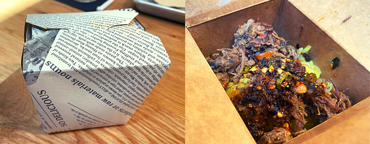The curried brisket rice is served in a paper to-go container, which works well for both the beginning and end of the meal. - LAUREN DREWES DANIELS