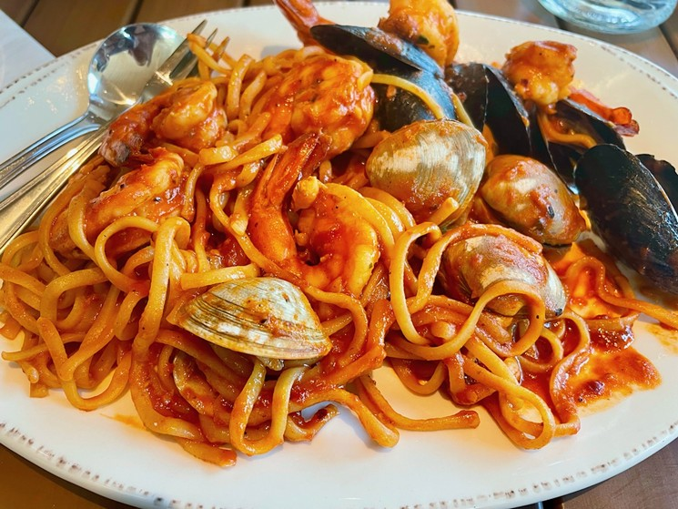 The Nantucket Seafood Pasta is served with a spicy marinara sauce. - ANGIE QUEBEDEAUX