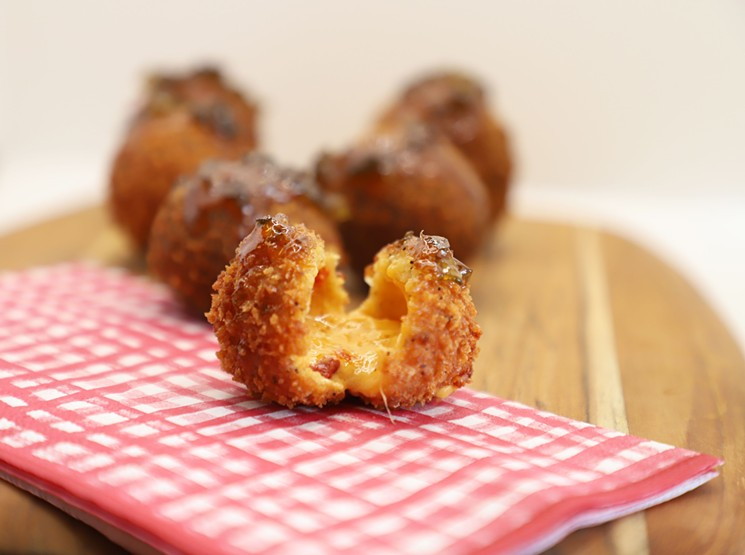 These jalapeño pimento cheese fried balls of glory are a crowd favorite. - PAW PAW'S