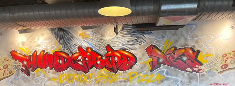 Mural at Thunderbird Pies in East Dallas - ANGIE QUEBEDEAUX