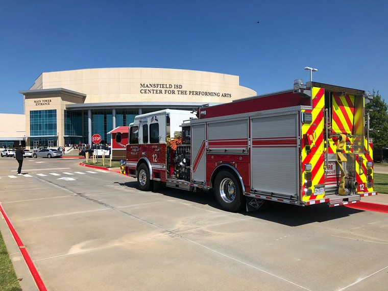 Students were evacuated to the Mansfield Performing Arts Center after the shooting Wednesday morning - JACOB VAUGHN