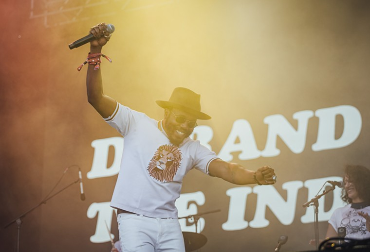 Durand Jones and the Indicators getting groovy on the T-mobile Stage. - RACHEL PARKER