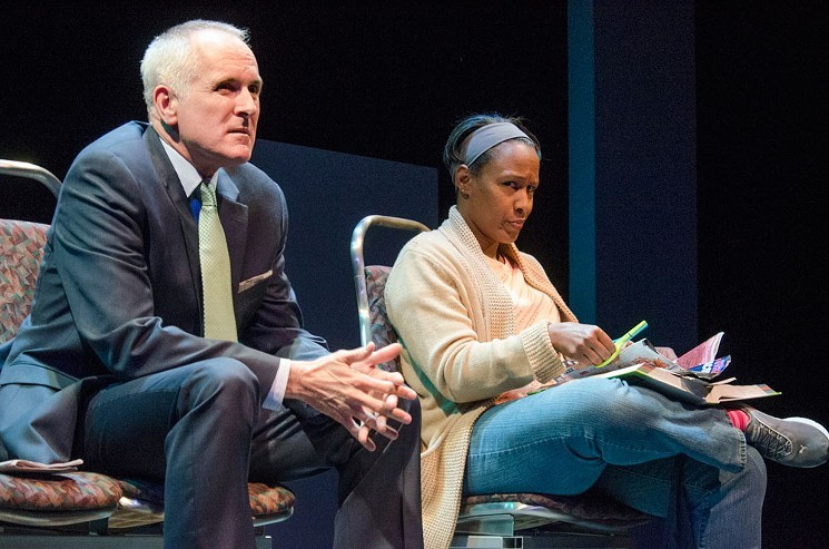 Sam Gregory and Jada Suzanne Dixon in White Guy on the Bus at Curious in 2016. - CURIOUS THEATRE COMPANY