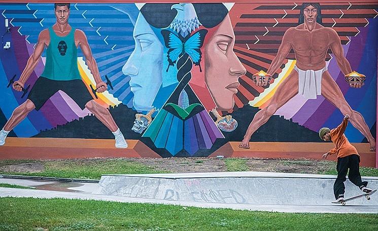 "Detail of ""La Alma,"" by Emanuel Martinez, La Alma Recreation Center, 1325 West 11th Avenue. - EVAN SEMÓN"
