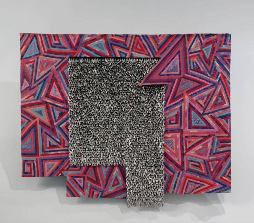 "Marie Watt (Seneca), ""Butterfly,"" 2015, reclaimed wool blankets, satin binding, thread, cotton twill tape and tin jingles. - © MARIE WATT, COURTESY OF THE DENVER ART MUSEUM"