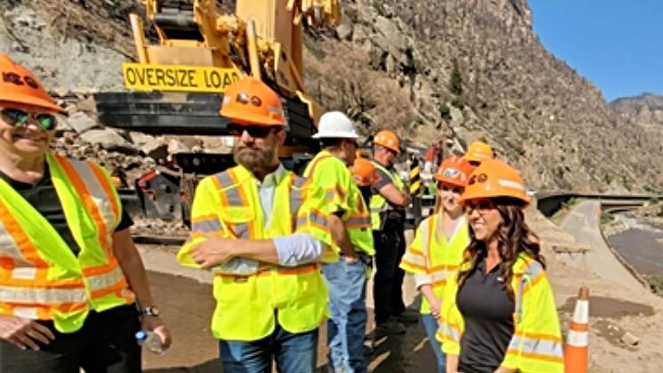 U.S. Representative Lauren Boebert, right, with a work crew in Glenwood Canyon on August 11. - BOEBERT.HOUSE.GOV
