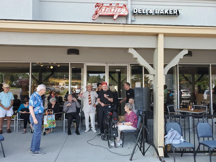 Zaidy's founder Gerard Rudofsky and new owners Beth Ginsberg, Max Appel and Joel Appel cut the ribbon on the new location August 17. - MOLLY MARTIN