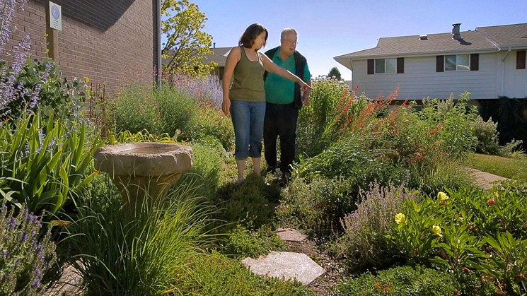 Lynn and Don Ireland among the xeriscaping done by Cherry Creek 3. - COURTESY OF HAVEYPRO CINEMA