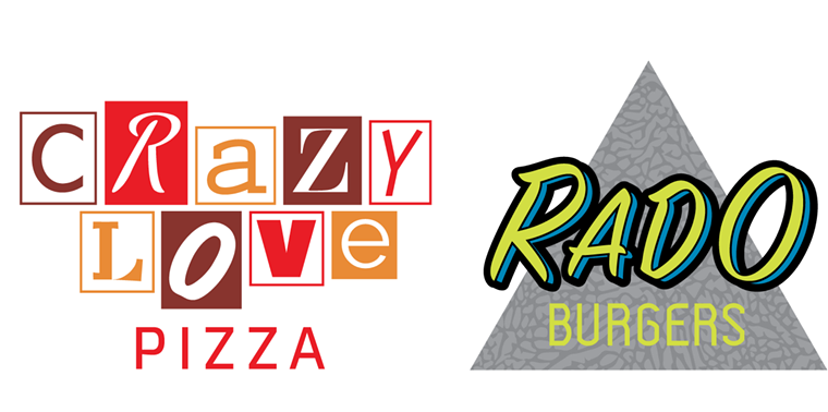 The logos for new Troy Guard concepts Crazy Love Pizza and Rado Burgers. - GRANGE HALL