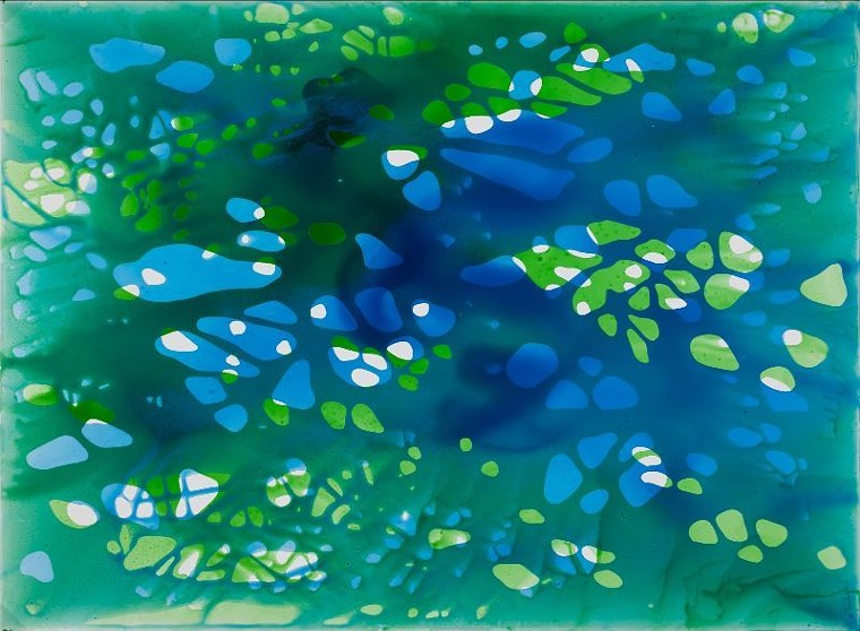 "Jane Guthridge, ""Dancing Color 12,"" acrylic on Dura-lar. - COURTESY OF WALKER FINE ART"