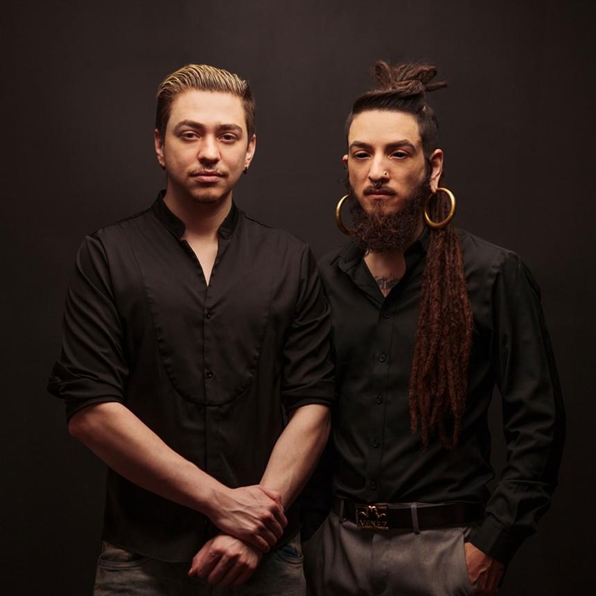 Fashion designers Saul and Vincent Jimenez of MENEZ. - MIKE LARREMORE