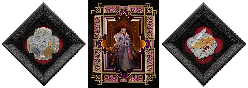 "Nicole Grosjean, ""Grimm Still Life: Cinderella,"" cut paper, silk, 24k gold leaf, watercolor and gouache and ""Thousandfurs,""cut paper, 24k gold and 13k white gold leaf, watercolor, gouache and led lights. - NICOLE GROSJEAN"