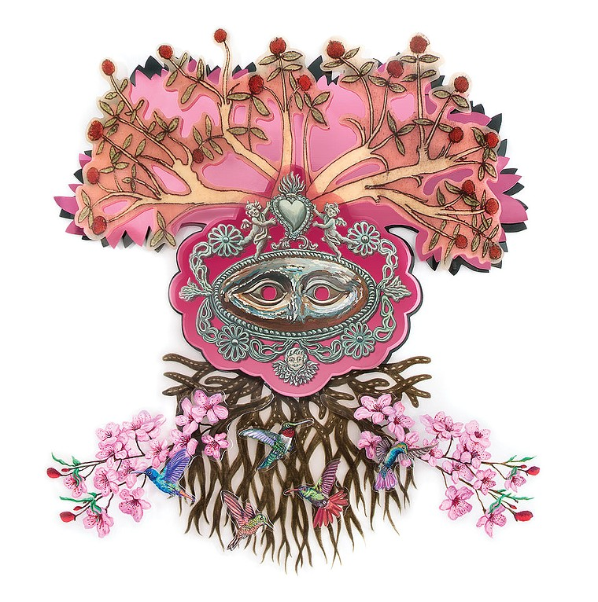 "Pamela Joseph, ""Prunus Cerasus (Cherry Blossom),"" 2020, acrylic and mixed media on plexiglass. - PAMELA JOSEPH, MICHAEL WARREN CONTEMPORARY"