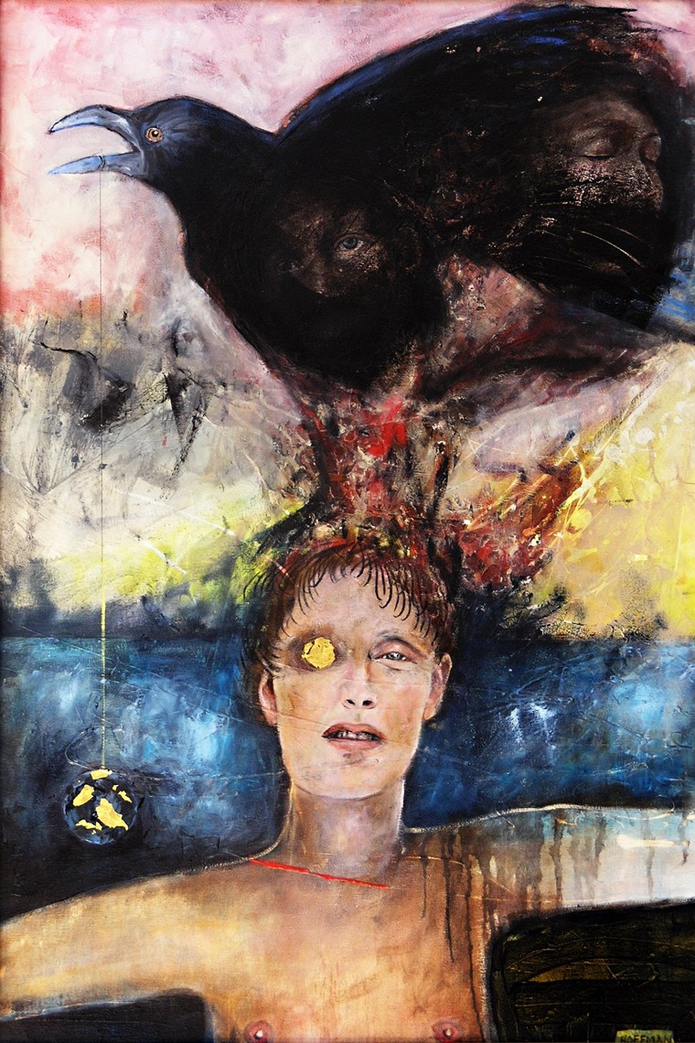 """Katie Hoffman, """"Not With a Bang but a Whimper,""""oil and gold leaf on canvas. - KATIE HOFFMAN"""