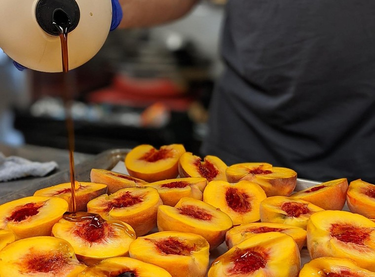 Palisade peaches get the maple syrup treatment at Spice Trade Brewing. - SPICE TRADE BREWING