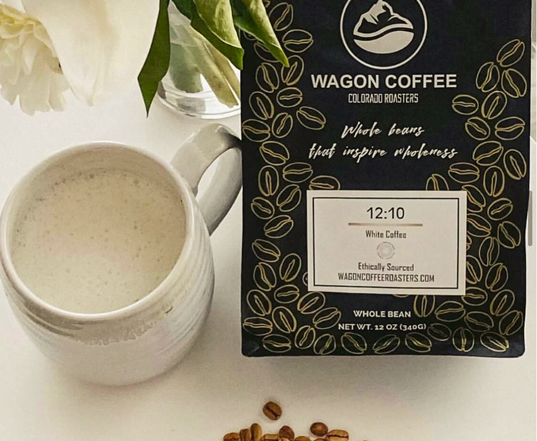 12:10 is a white coffee that has 70% more caffeine than standardly roasted beans. - WAGON COFFEE