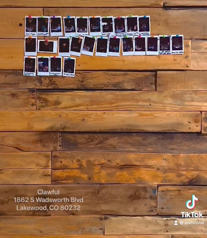 Polaroids show some of Clawful's first customers. - ELI STONE/TIKTOK