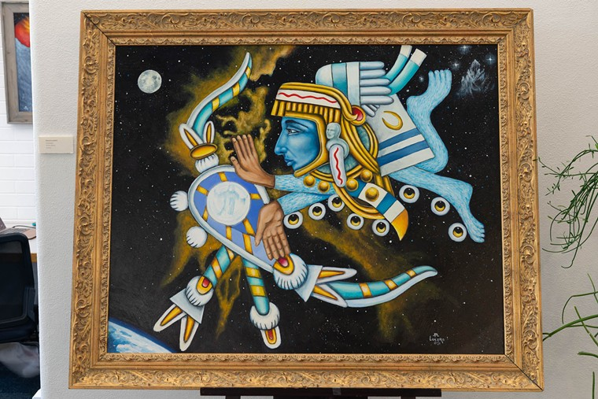 Stevon Lucero hangs up a show of all-new work at Regis University. - STEVON LUCERO