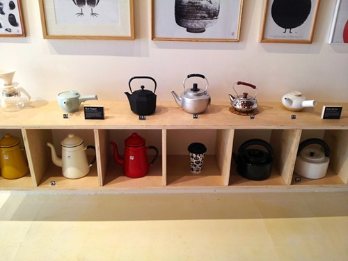 A display of teapots at Umami Mart.