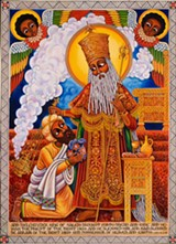 """A piece from Yahudah's """"Angels and Icons"""" series."""