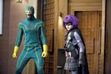 Aaron Johnson as Kick-Ass and Chloë Moretz as Hit Girl in Kick-Ass.