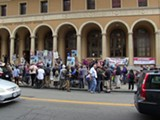 PETER BYRNE - Activists have protested the proposed sale of the historic downtown Berkeley post office.