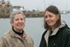 Activists Sandra Threlfall and Naomi Schiff at Brooklyn Basin.
