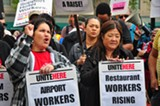 COURTESY OF UNITE HERE - Airport worker Ida Gonzales (left) and Lisa Lam (right) of Unite Here Local 2.